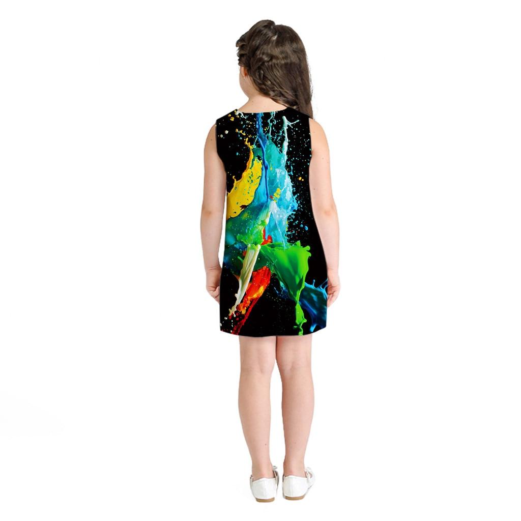 Fashion Teen Toddler Kids Girls Sleeveless 3D Cartoon Print Cartoon Dress Casual