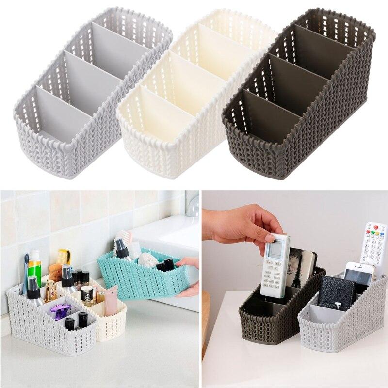 4 Grid Desktop Makeup Storage Box Rattan Basket Remote Stationery Organizer