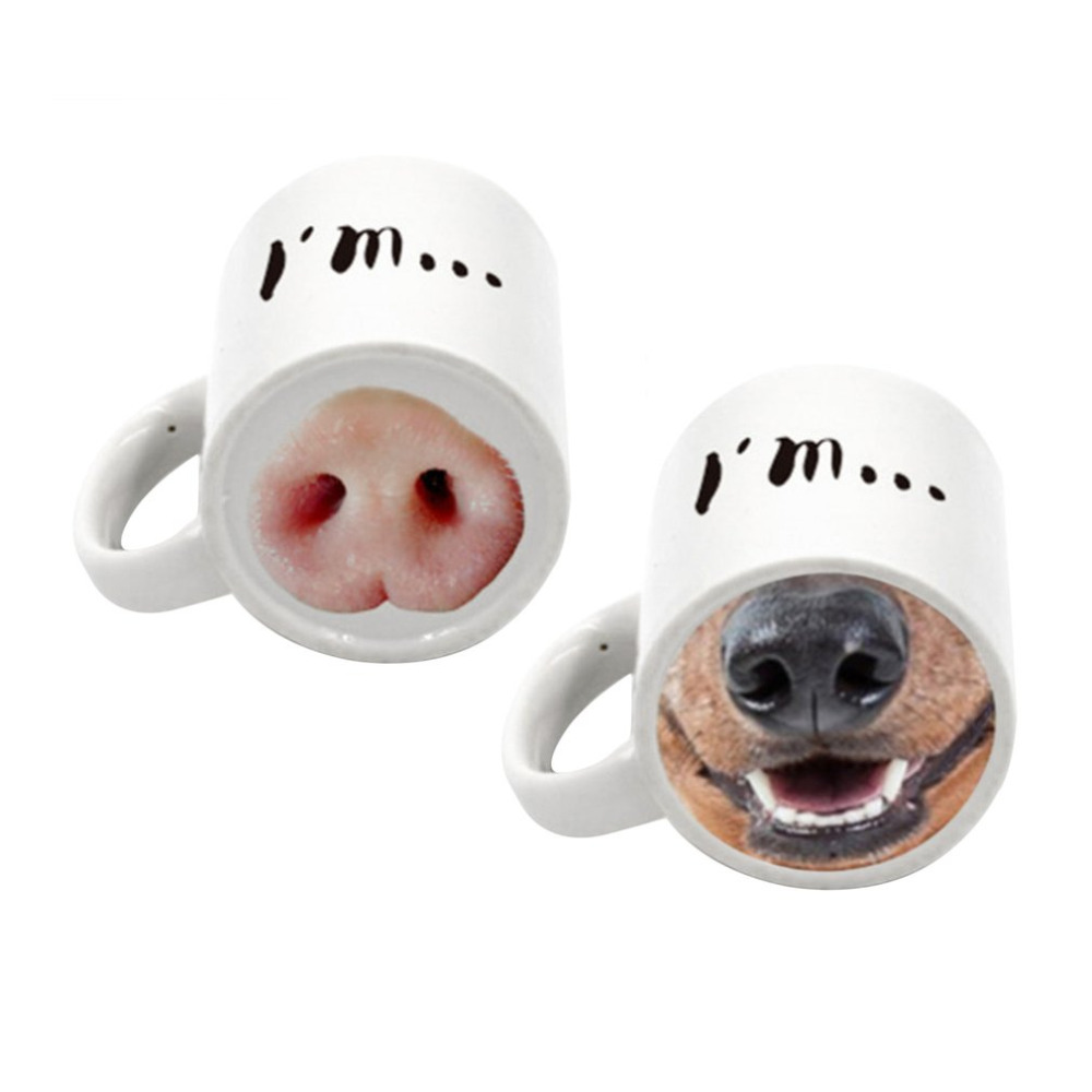 Animal Coffee Cups Funny Pig Dog Nose Ceramic Tea Coffee Cup Mugs Special Home Office Handgrip Milk Tea Cups Home Drinkware Cute Animal Mugs