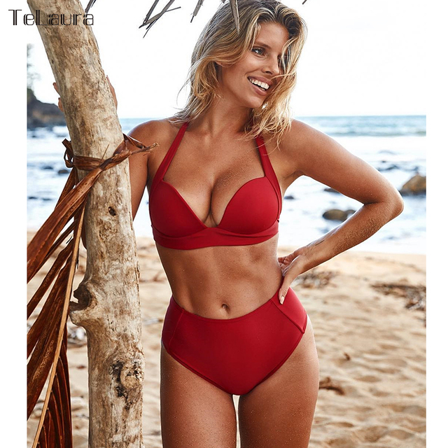 TeLaura Sexy High Waist Bikini Set Swimwear Women Swimsuit Push Up 2018 Womens Bikini Halter Top Bathing Suit Beachwear Biquini 2