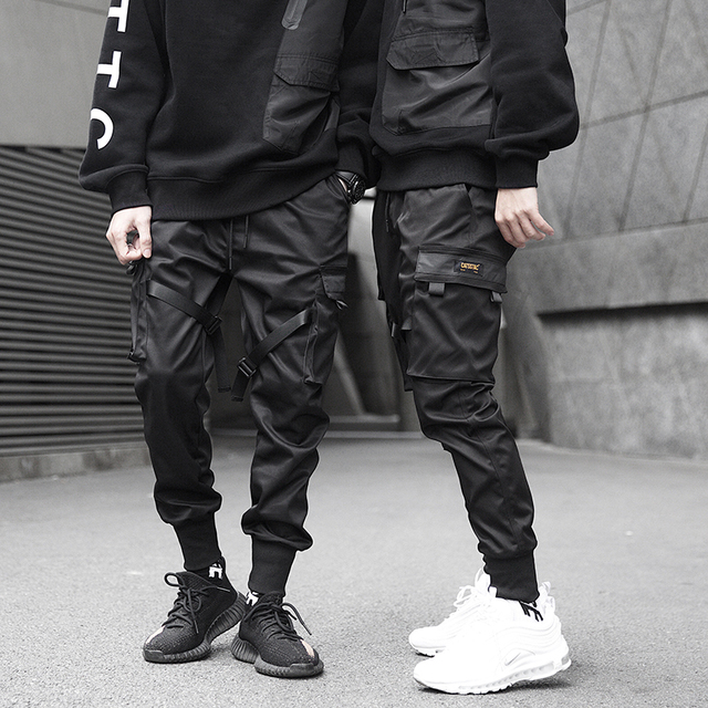 Men Ribbons Color Block Black Pocket Cargo Sweatpant Hip Hop Trousers 1