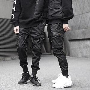 Image 2 - Men Ribbons Color Block Black Pocket Cargo Pants 2019 Harem Joggers Harajuku Sweatpant Hip Hop Trousers