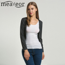 Meaneor 2016 Autumn Women's Shrug Bolero Casual Outwear Basic Long Sleeve Short Jacket Solid  Crop Cardigan Sweater