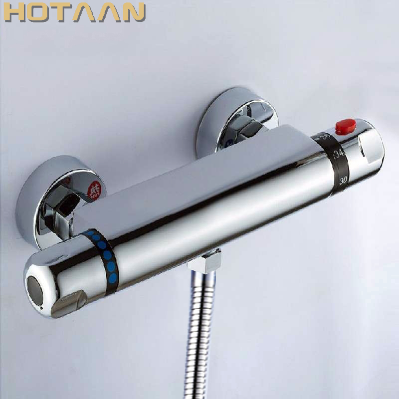 Free Shipping Wall Mounted Two Handle Thermostatic Shower Faucet Thermostatic Mixer , Shower Taps Chrome Finish,YT-5301-B modern thermostatic shower mixer faucet wall mounted temperature control handheld tub shower faucet chrome finish