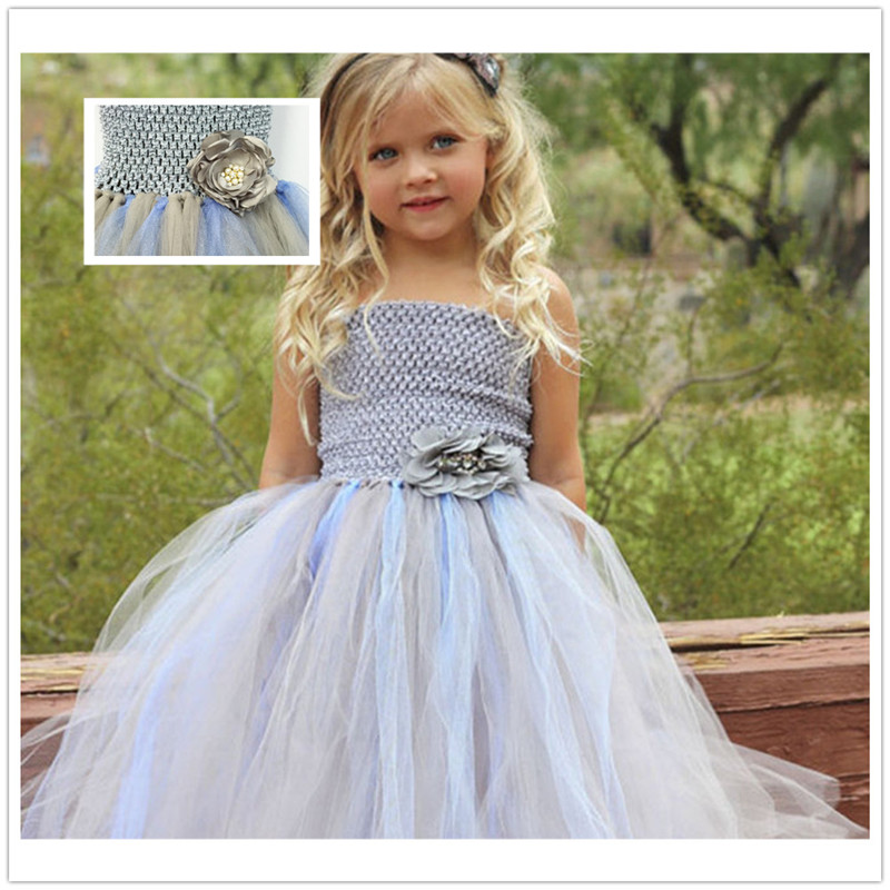 Gray Tulle Bridesmaid Flower Baby Girl Wedding Dress Fluffy Ball Gown Birthday Costume Cloth Tutu Party Dresses silver gray purple pink blue ball gown tutu soft tulle puffy flower girl dress baby 1 year birthday dress with spaghetti straps