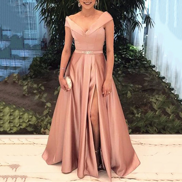 Sexy V-neck Side Slit Long   Bridesmaid     Dresses   Cap Sleeve Party Wear   Dress   Custom Made Prom Gowns 2019 Robe de Soiree