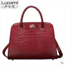 lukani crocodile Female bag real leather crocodile belly fashion big capacity single shoulder cross-bag