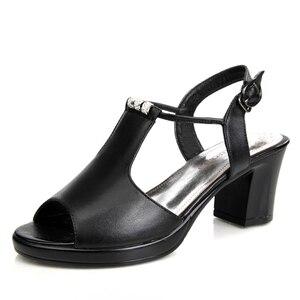 Image 1 - حقيقية أحذية من الجلد النساء الصنادل زقزقة اصبع القدم عالية الكعب الصنادل الجلدية حقيقية حجر الراين السيدات أحذية