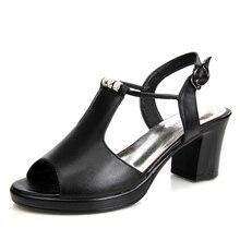Echtes Leder Schuhe Frauen Sandalen Peep Toe High Heels Echt Leder Sandalen Strass Damen Schuhe