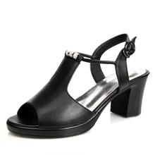 Zapatos de cuero genuino, sandalias de mujer, zapatos de tacón alto, sandalias de cuero Real, zapatos de mujer con diamantes de imitación