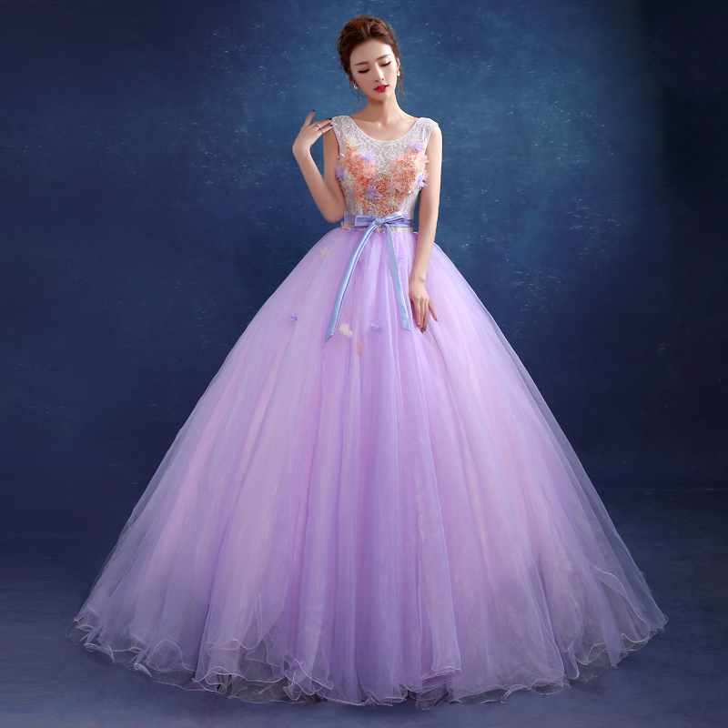 Luxury Brand New Sleeveless Light Purple Floor Appliques Party Dress Stage Performance Ball Gown