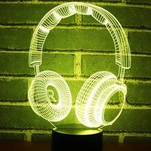 3D светодио дный СВЕТОДИОДНЫЙ Ночник музыка динамическая гарнитура с 7 цветов свет для украшения дома лампа удивительная визуализация Оптическая иллюзия