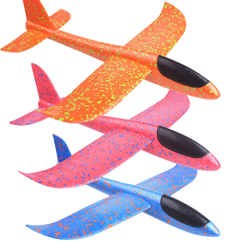 EPP Foam Throwing Flying Airplane Aircraft Hand Launch Free Fly Plane Hand Throw Plane Puzzle Model Toys for Kids 49/36CM