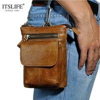 Retro Oil Wax Genuine Leather Mens Waist Packs Bag Travel Fanny Pack Belt Loops Hip Bum