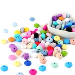 Image 3 - * 200 adet gıda sınıfı silikon boncuk inciler kemirgenler bebek diş çıkartma oyuncakları anne hemşirelik DIY bebek dişlikleri kolye ücretsiz kargo