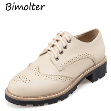 Bimolter Women Flats Lace-Up Brogue Shoes Woman Platform British Style Creepers Cut-Outs Flat Casual Ladies Shoes Big Size FB009 gpokhds big size 33 45 high quality hot sale 2017 new style women casual black color cut outs lace up oxfords shoes flats shoes