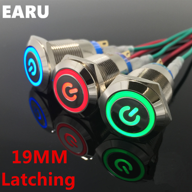 19mm Metal Latching Locking Horn Push Button Switch LED Car Auto Power 5V 12V 24V 110V 220V Red Blue Waterproof Stainless Steel