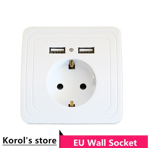 15A 21A Wall Charger Adapter EU Plug Socket Power Outlet Panel Dual USB Port
