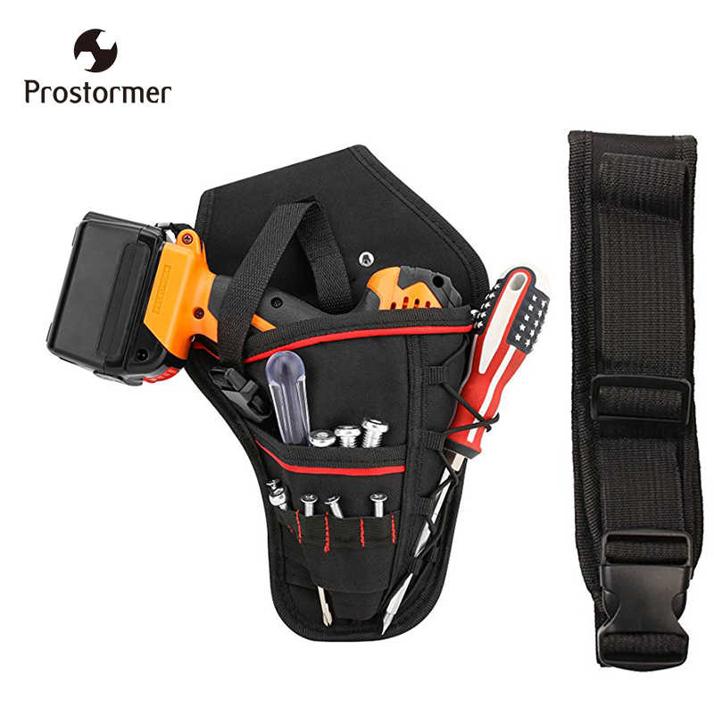 Prostormer Drill Holster Bit Pocket Electric wrench Holster Heavy Duty Belt Worn Right Handed Holder Fits Most T Handle Drills