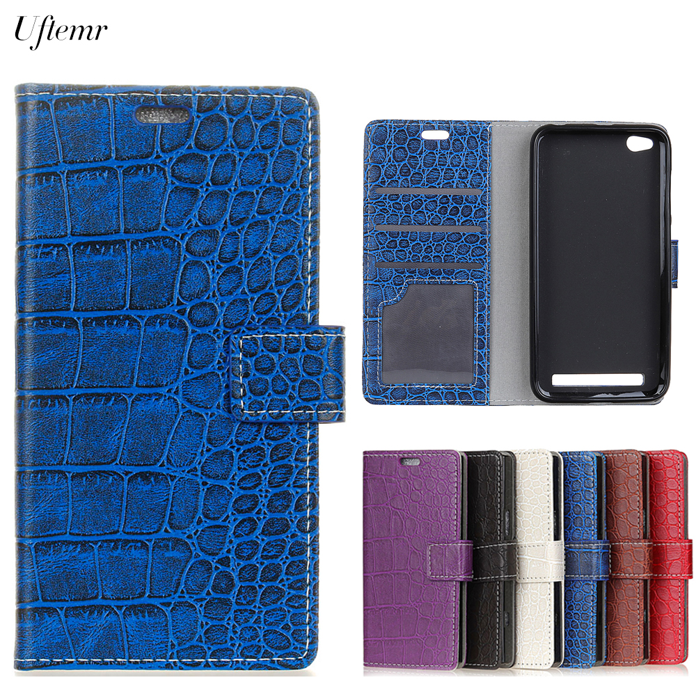 Uftemr Vintage Crocodile PU Leather Cover For Xiaomi Redmi 5A Protective Silicone Case Wallet Card Slot Phone Acessories