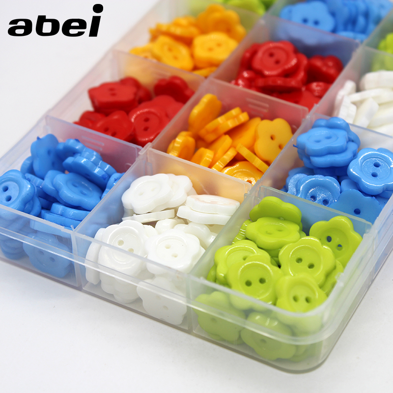 100pcs/lot Mix Colors Cartoon Flower Buttons for Kids Baby Clothes Button Sewing Accessories Handmade Scrapbooking Decoration