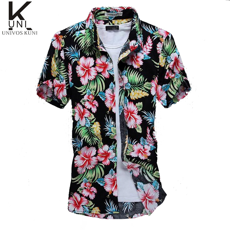 Casual hawaiian shirts men cotton floral brand clothing for Mens slim hawaiian shirt