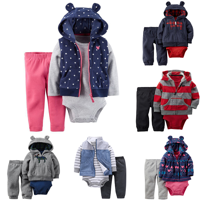 2018 New Baby Girls Clothes 100% Cotton Hooded Coat + pants + Romper 3 piece Cartoon Newborn Boys Clothing Sets infant bodysuits puseky 2017 infant romper baby boys girls jumpsuit newborn bebe clothing hooded toddler baby clothes cute panda romper costumes