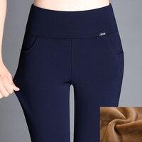 Grande taille 6XL 2017 D'hiver Femmes Pantalon Chaud, Plus Épais Velours Pantalon Mince Taille Haute Stretch Crayon Pantalon Pantalon Femelle