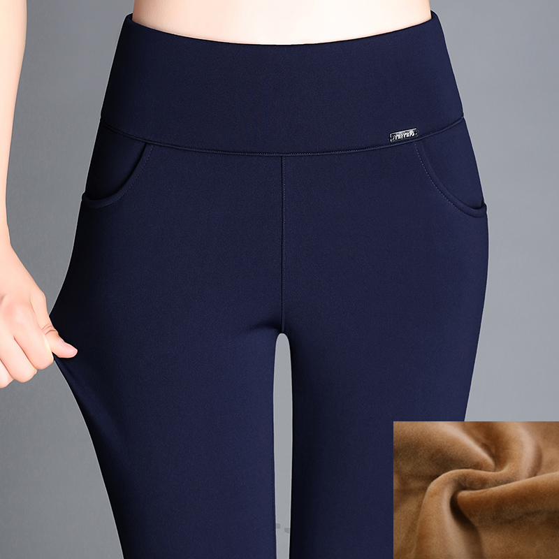 Large Size 6XL 2019 Winter Women Pants Warm Plus Thick Velvet Pants Slim High Waist Stretch Pencil Pants Female Trousers