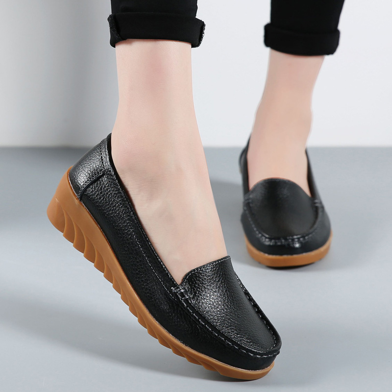 Krasovki Single Shoes Women Spring Autumn Dropshipping Wedges Casual Flat Bottom Soft Bottom Slip on Loafers Women Shoes in Women 39 s Flats from Shoes