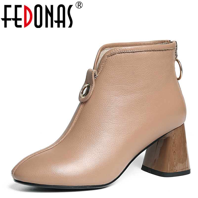 FEDONAS1Fashion Women Ankle Boots Autumn Winter Warm Genuine Leather High Heels Shoes Woman Round Toe Zipper Elegant Basic Boots elegant women low high heels ankle boots pointed toe patchwork autumn winter shoes woman basic motorcycle boots dr b0038