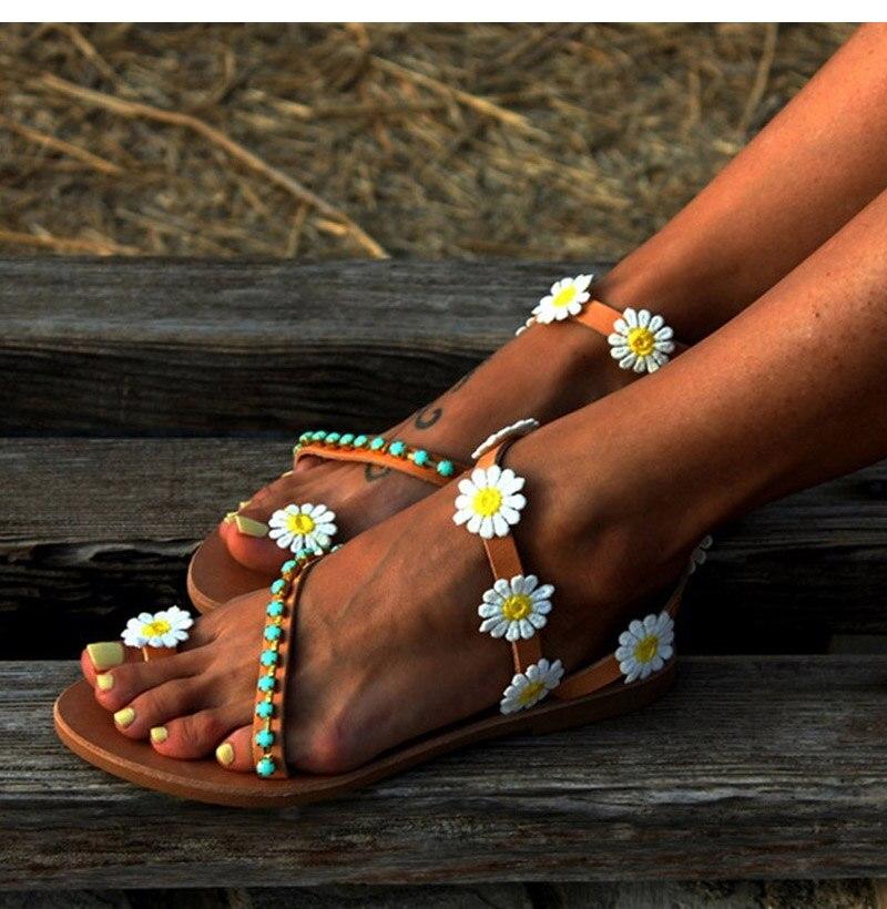HTB1pzc8borrK1RkSne1q6ArVVXay Summer Shoes Woman Gladiator Sandals Women Shoes Flat Fashion Weet Flowers Boho Beach Sandals Ladies Plus Size 44