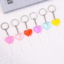 1PC cute heart lollipop keychain flatback resin pendant charms dessert keyring for woman