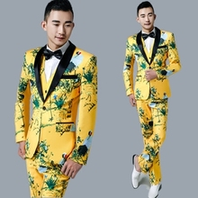 Dress Vest Jacket Pant Grooms-Suits Three-Piece-Suit Performance Chinese-Style Yellow