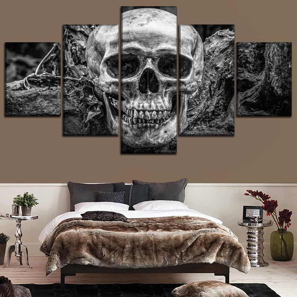Modern Canvas Print Painting Wall Art Decor Modular Framework Poster 5 Panel Abstract Skull Pictures Home Decoration Bedroom