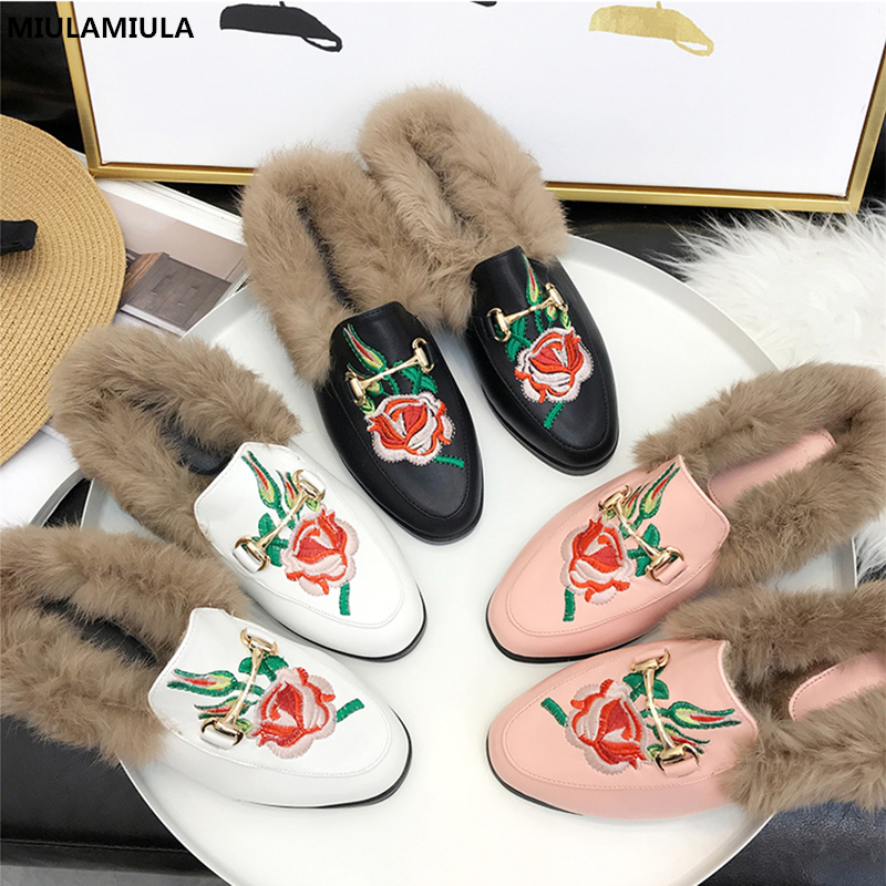 MIULAMIULA Brand Designers 2018 Fashion Embroider Flower Fur Slides Woman Leather Shoes Slip On Loafers Mules Flip Flops 35-41 miulamiula brand designers 2018 fashion rabbit hair woman flat slides lady shoes furry slippers slip on loafers mules flip flops