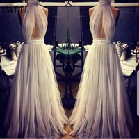 robe de soiree Sexy Long Evening Dresses Pleats abiye gece elbisesi Tulle Evening Gowns White Formal Dress Halter abendkleider