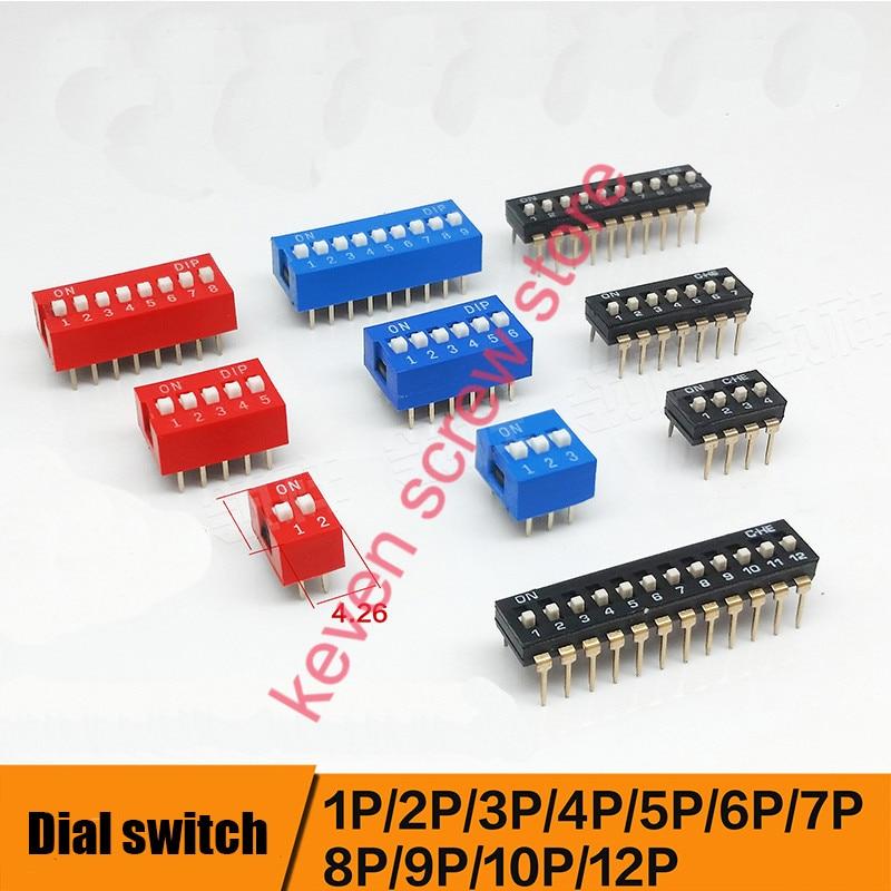 10pcs/lots Direct dial code switch DIP switch DP-1P/2P/3P/4P/5P/6P/7P/8P/9P/10P/12P 2.54MM DS pitch Side bonatech dip 8 power module offline switch black 5 pcs