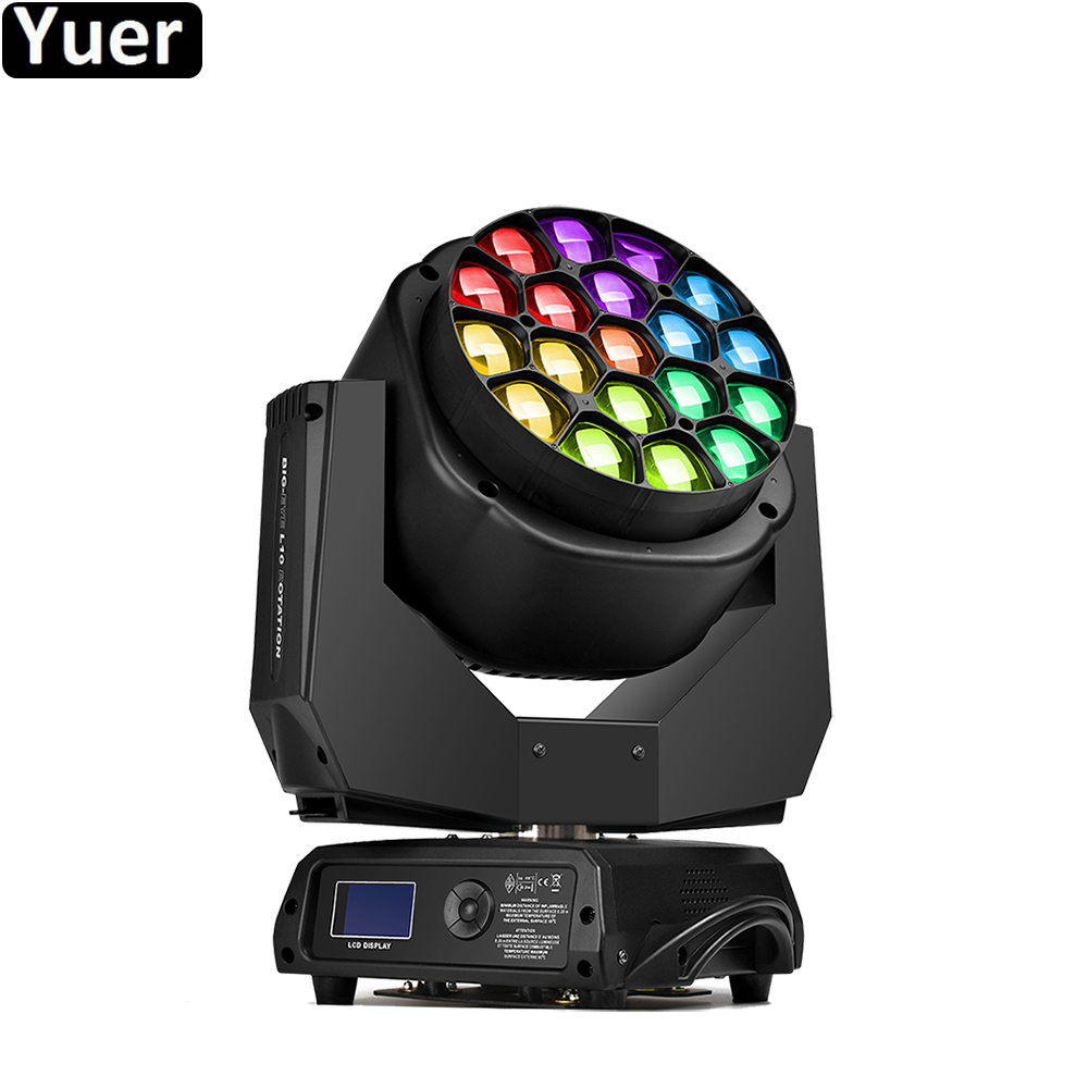 2019 New LED 19X15W RGBW 4IN1 Big Bee Eye Moving Head Light With Zoom Rotating Mac Aura Stage Disco DJ party Lighting