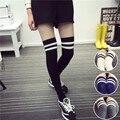 Womens Harajuku Primavera Nueva Striped Socks Rodilla Sexy Medias Flaco Largo Calcetines de Algodón Calcetines Hasta La Rodilla Calcetines De Las Mujeres Medias