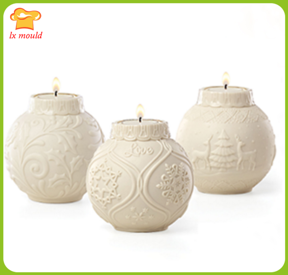 Christmas Carnival Super Low Price Embossed Ball Candle Silicone Mold Christmas Flower Snowflake Elk