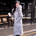 Korean winter women slim knee length long down jacket female hooded large fox fur collar thick plus size coat tide parkas MZ1066