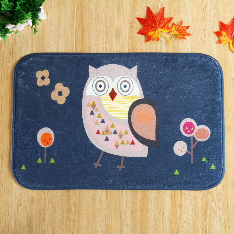 SunnyRain 1 Piece Cartoon Owl Coral Fleece Area Rug For