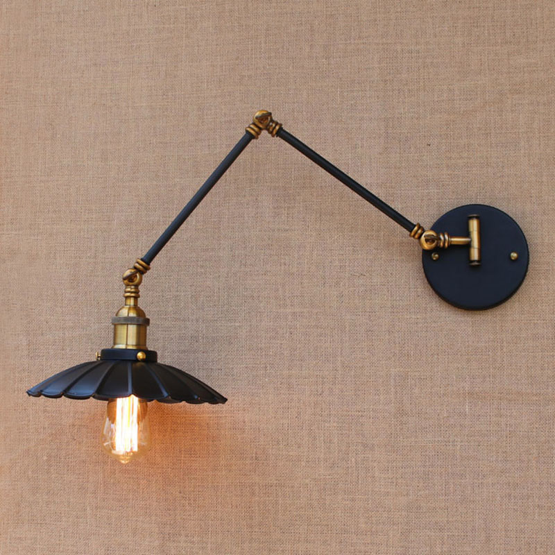 Loft black industrial metal vintage wall lamp E27 light sconce with adjustable long swing arm for workroom bedside bedroom bar nema23 geared stepping motor ratio 50 1 planetary gear stepper motor l76mm 3a 1 8nm 4leads for cnc router