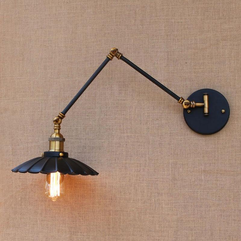 Loft black industrial metal vintage wall lamp E27 light sconce with adjustable long swing arm for workroom bedside bedroom bar футболка мужская abercrombie