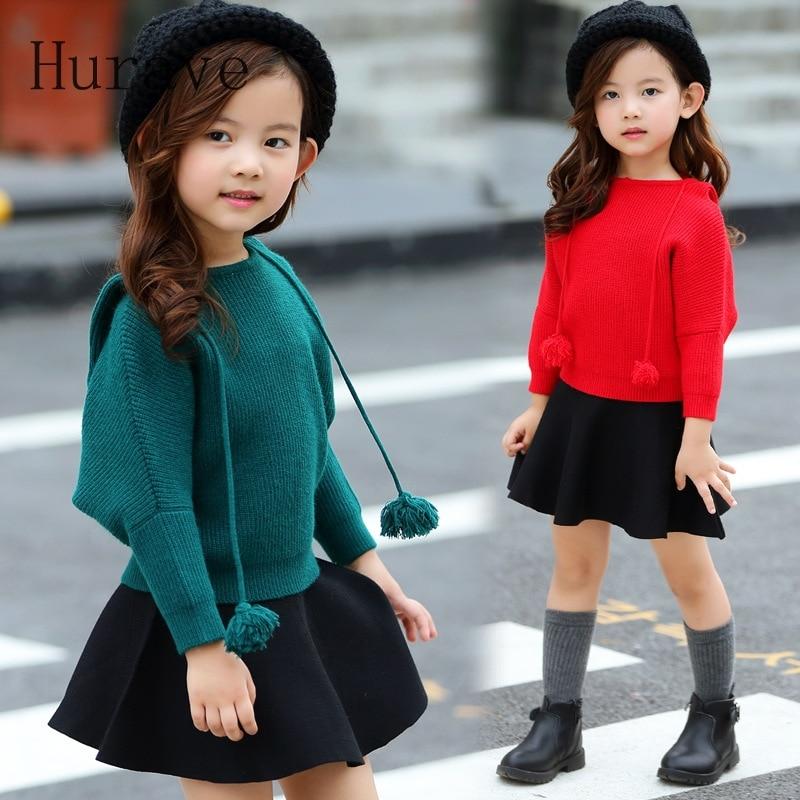 Hurave 2017 Girls Sets 2017 Autumn Winter Children Bat Sweater Hooded Shirts + Dress Infant Kids Clothes Sets For Girl