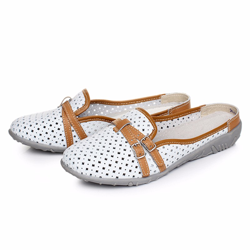 Women Slipper Casual Flats Leather Shoes Summer Comfortable Soft Sole Hollow Out Beach Flat For Half