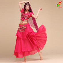 2016 Time-limited Women Cotton New Sexy Belly Dance Costume Set 4pcs (top+skirt+belt+veil) Bollywood/indian Costumes Dancewear