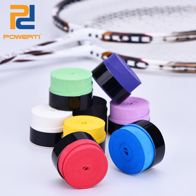 POWERTI 15pcs/lot Absorbent Sweatband 0.75mm Dry Tennis Grip Racket Sport Overgrip for Badminton Sport Roll Grip