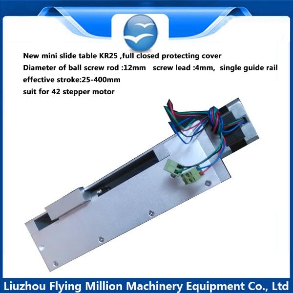 все цены на Linear Sliding Table Ball screw rod  1204 Sliding Table Single Guide Rail KR25 Effective Stroke 25-400mm онлайн